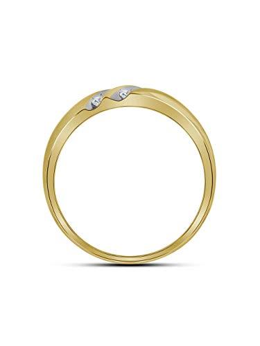 - 14kt Yellow Gold Mens Round Diamond 2-Row Wedding Band Ring 1/4 Cttw
