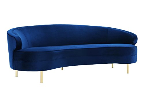 Tov Furniture The Baila Collection Modern Style Living Room Velvet Upholstery Curved Sofa with Stainless Steel Legs, Navy