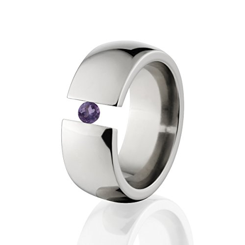 (Amethyst Ring Titanium Tension Set Jewelry Stunning Amethyst Band)