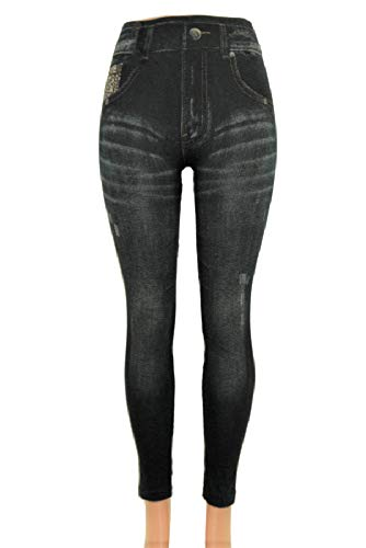 ITSALLLEGGINGS Women's Soft, Stretchy, Jean Look Jeggings, Denim Leggings (One, Grey Faux Rip Jeggings) (Grey Denim Leggings)