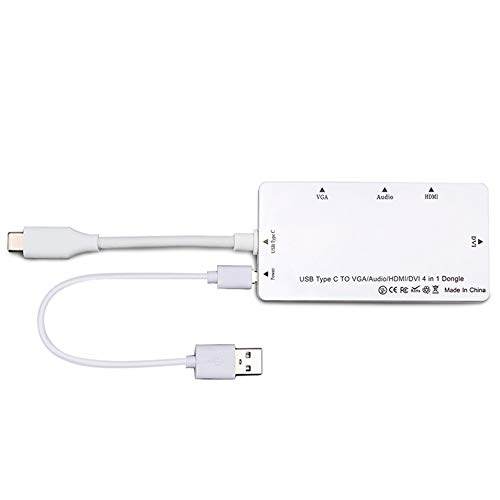 Titanicol Type-C Turn Hdmi/Vga/Dvi with Audio Four-in-One Converter Notebook(White)