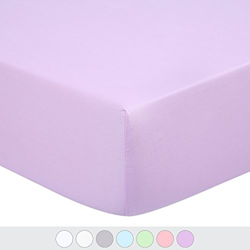 TILLYOU Premium Egyptian Cotton Crib Sheet, Hypoallergenic Fitted Toddler Sheets, Soft Breathable Cozy, 28x52 Fits Standard Crib and Toddler Mattress, Lavender