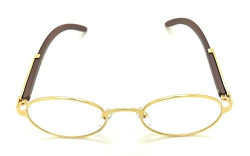 Clear Lens Eyeglasses Unisex Vintage Fashion Oval Frame Yellow Gold Glasses