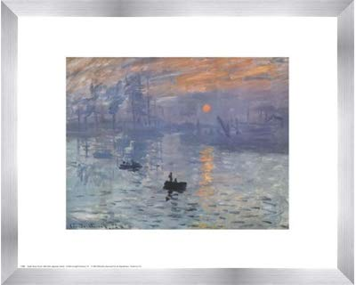 - Poster Palooza Framed Impression, Sunrise, c.1872 (Blue)- 20x16 Inches - Art Print (Stainless Steel Frame)