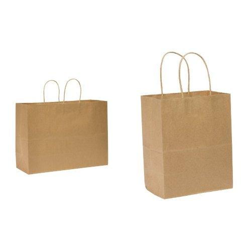 Duro Tote Medium Retail Bag, Kraft Paper, 16''x12'' 250 ct, ID# 86779 and  Tempo Small Shopping Bag, Kraft Paper, 4-1/2''x8''x10-1/4'' 250 ct, Legislative Approved, ID# 87097 bundle