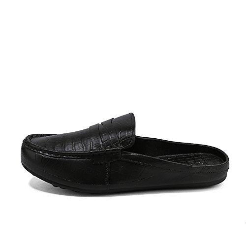 Toe Black Slipper Go On Backless Shopping Close Cricket PU Easy Men's Slip Mules Shoes O6qABxAwvX