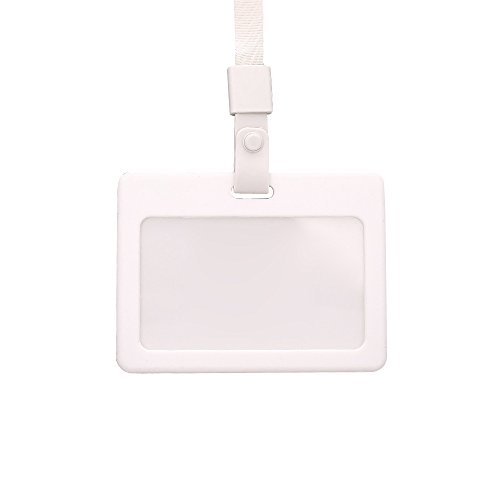 Zhi Jin Silicone Horizontal ID Badge Holder with Lanyard Credit Card Sleeves Protectors Organizer Neck Strap Office School Pack of 3 White by Zhi Jin (Image #4)