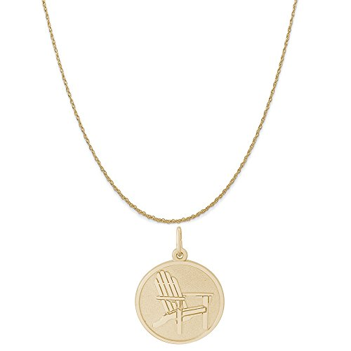 (Rembrandt Charms 14K Yellow Gold Deck Chair Charm on a 14K Yellow Gold Rope Chain Necklace, 16