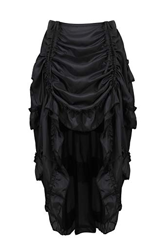 Zhitunemi Women's Steampunk Skirt Ruffle High Low Outfits Gothic Plus Size Pirate Dressing Black XL/2XL -