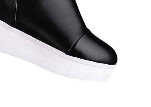 PU Solid Black Boots High Round Allhqfashion Heels On Women's Closed Pull Toe f0qAnw5