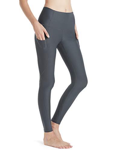 TSLA Yoga Pants Mid-Waist/High-Waist Tummy Control w Side/Hidden Pocket Series, Zen Yoga(fyp54) - Dark Grey, Medium (Size 8-10_Hip39-41 Inch)