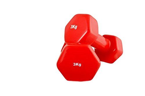 SportSoul DBLV3 Vinyl Dumbbell, Adult 3Kg Pack of 2 (Red)