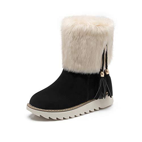 JOYBI Women Winter Round Toe Mid Calf Boots Fringe Leisure Flat Heel Warm Fur Lined Faux Suede Snow Boots