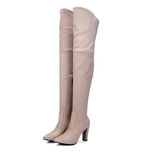 Sandalette-DEDE Zapatos para Mujer/Botas Botas de tacón Alto, Botas Altas, Botas Altas, Botas de Gamuza y Rodilla. apricot