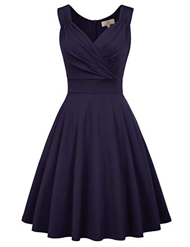 GRACE KARIN 1950s Retro Flared Swing Dress V-Neck Size S Navy Blue CL698-3