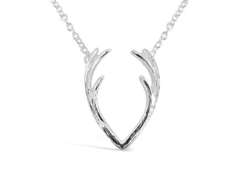 """Rosa Vila Antlers Necklace, Antler Pendant Necklace, """"Oh Deer!"""" Antler Charm With 17"""" Chain (Silver Tone)"""