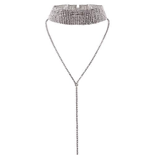 Rhinestone Layered Choker Necklace - Double Layer Full Rhinestones Crystal Wide Collar Necklace (Silver)