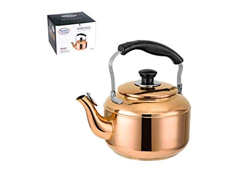 ter Stainless Steel 18/8 Whistling Tea Kettle, Copper Finish, Heat Resistant Handle, Safe Pouring, Elegant Design ()
