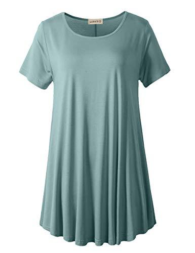 LARACE Women Plus Size Swing Tunic Top Short Sleeves T-Shirt(4X, Grayish Green)