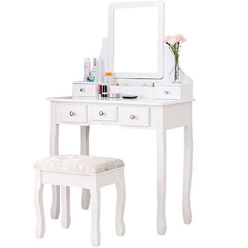 (Mecor Vanity Table Set,Makeup Desk w/Square Mirror,Wood Dressing Table with Cushioned Stool&5 Drawers,3 Removable Dividers Women Girls Bedroom Furniture White)