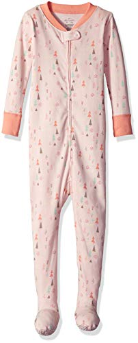 Moon and Back Organic One-Piece Footed Pajamas, Bunny Print, 3T