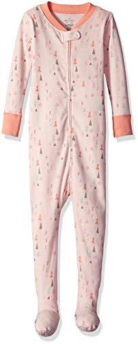 Moon and Back Organic One-Piece Footed Pajamas, Bunny Print, 12-18 - Girls Pajamas Footed
