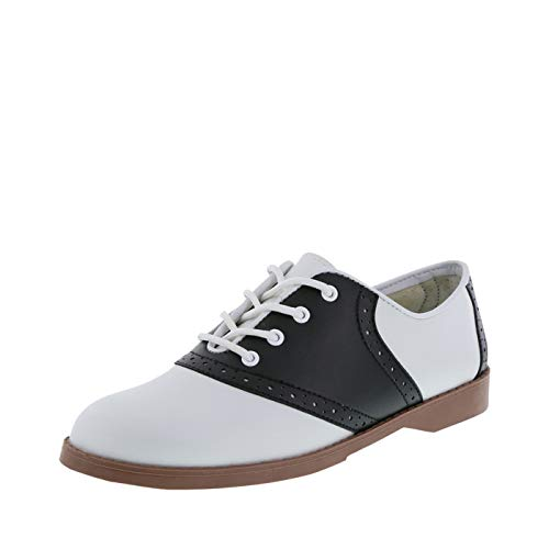 Poodle Skirt And Saddle Shoes (Predictions Women's Black White Women's Saddle Oxford 8)