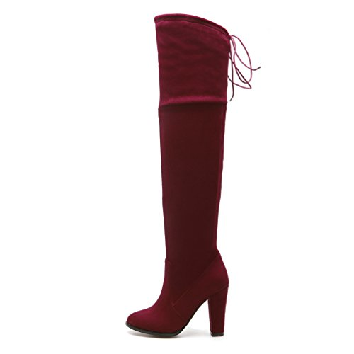 Knee Stretch Casual High the Suede Over Boots Thigh Shoes Red Dress Womens AIWEIYi Snug for Ridding OatqFC