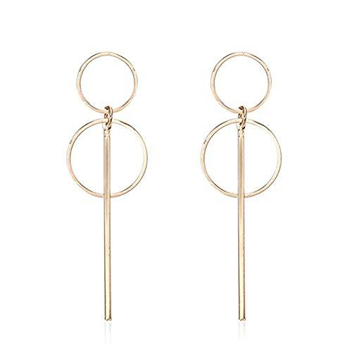 - Geometric Double Circle Hoop Dangle Earrings Simple 8 Infinity Knot Bar Tassel Drop Earrings for Women Fashion Jewelry (Gold)