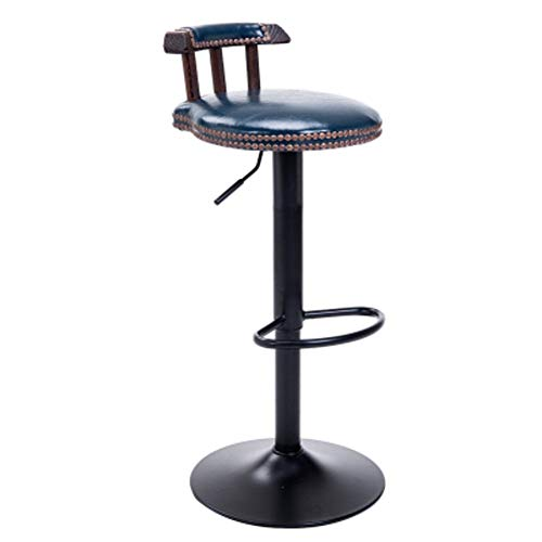 DYR Adjustable Retro bar Chairs, Small stools Bar stools with Back Safe Wine bar Chairs Swivel Kitchen Chair Faux Leather Gas Lift-O -