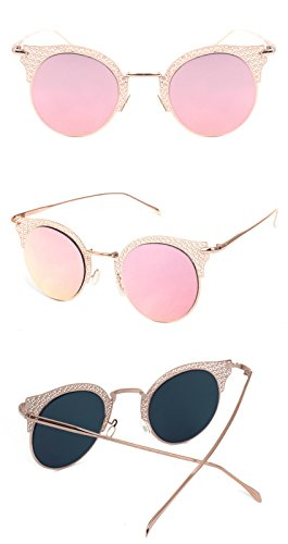 Hommes Lunettes soleil soleil dame Lunettes lunettes DESESHENME Bord Lens de Vintage de Femmes de doré soleil Miroir de pink Lunettes Lunettes Femmes soleil de H8wPTaH