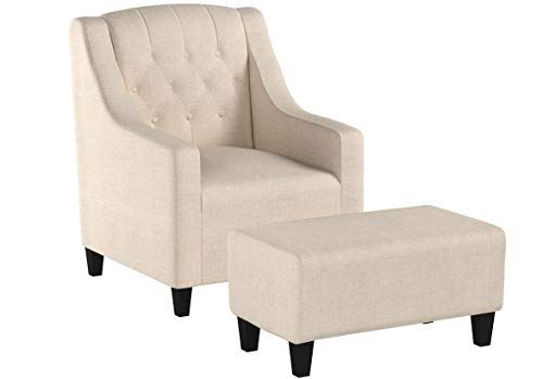 Christopher Knight Home 225133 Empierre Tufted Light Beige Fabric Chair and Ottoman,