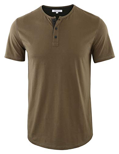 Vetemin Men's Casual Soft Solid Retro Workout Gym Short Sleeve Henley Tee Shirt Army/H.Charcoal S