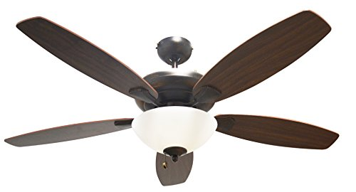"""Frosted Bowl Fan Light - Beautiful ceiling fan by HOMEnhancements. 52"""" Rubbed Bronze housing with reversible blade colors Oak/Walnut. Frosted White Bowl Light Kit. U552 RB5P+G168(190W)"""