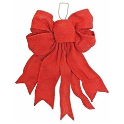 Large Fabric Red Hessian Hand Made Tree Top Bow 40cm Enchante