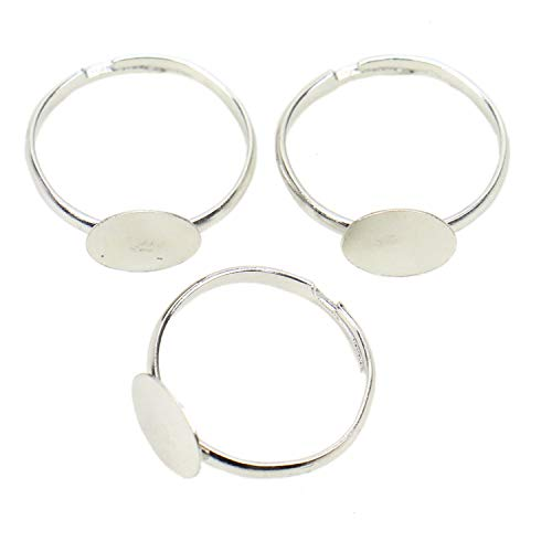 (JETEHO 100 Pack Adjustable Silver Plated Ring Base Blanks - 8mm Round Ring Bases for Jewelry Making)