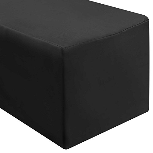 Lann's Linens - 6' Rectangular Black Polyester Fitted Tablecloth Cover for Weddings, Banquets, or Restaurants (72