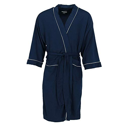 Fruit of the Loom Men's Waffle Knit Robe, Navy