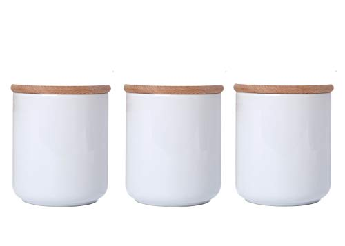 White Ceramic Jars With Lid Ceramic Kitchen Canisters Food Storage Containers With Airtight Wood Lids Salt Sugar Weed Tea Coffee Storage Jars 18.6 Floz Set of 3
