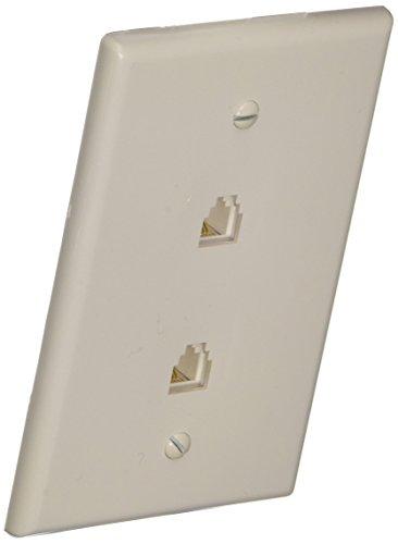 Morris 87021 Midsize Dual RJ11 4 Conductor Phone Jack Wall Plate, White