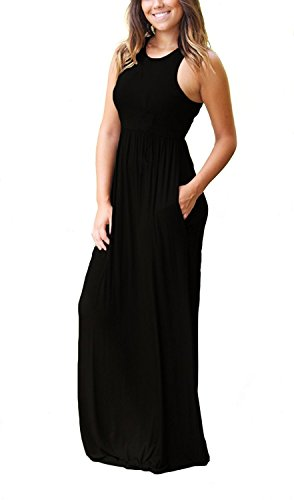 Large Product Image of GRECERELLE Women's Sleeveless Racerback Loose Plain Maxi Dresses Casual Long Dresses with Pockets