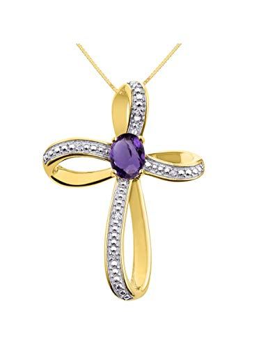 (Diamond & Amethyst Cross Pendant Necklace Set In Yellow Gold Plated Silver .925 with 18