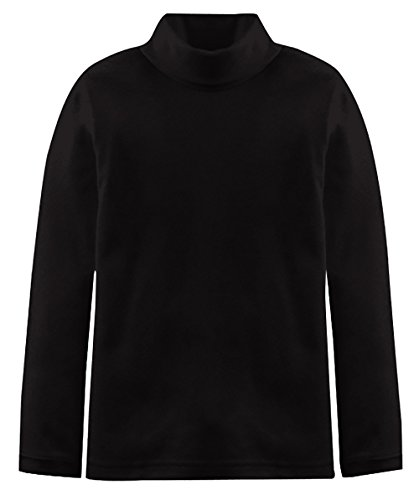 Popular Big Boy's Solid Cotton Turtleneck - Black - -