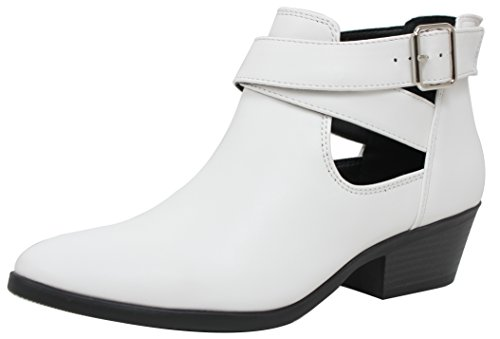 Ankle Cutout Closed White Heel Stack Soda Low Cross Boot Buckle Women's Toe Criss OxZwBvq