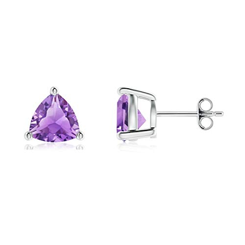 Basket-Set Trillion Amethyst Stud Earrings in Silver (7mm Amethyst)