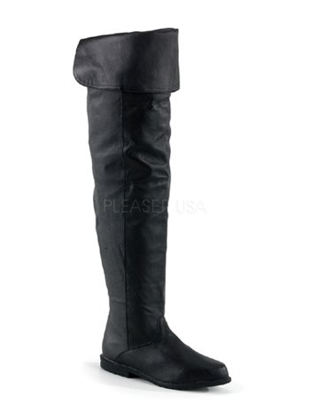 Flat Renaisance Black Thigh High Leather Boots - 13