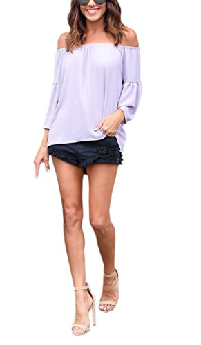 Violet Denudee Haut Sexy Chemisiers Flare Clair Shirts Sleeve Unie Femme Blouse Couleur Epaule Chemisiers Et Top Aw4q6Rq
