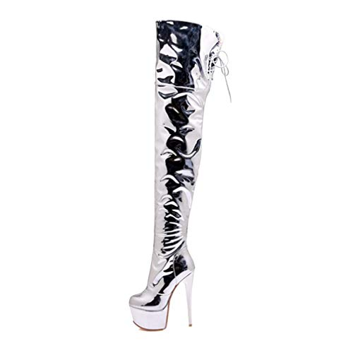 T-JULY Women Over The Knee Boots Fetish Platform Silver Thigh High Heel Sexy Dance Nightclub Party ()