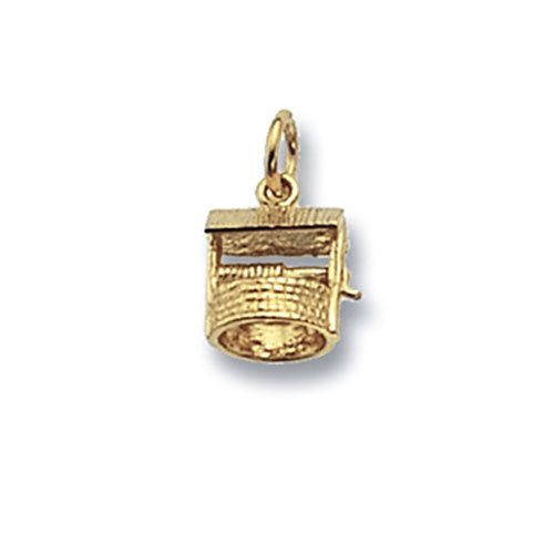 Or 9 ct mailles jaseron Wishing Well Pendentif sur un collier
