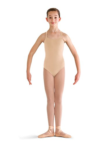 (Bloch Dance Girls Pranay Adjustable Strap Camisole Leotard, Nude, Size 6X-7)